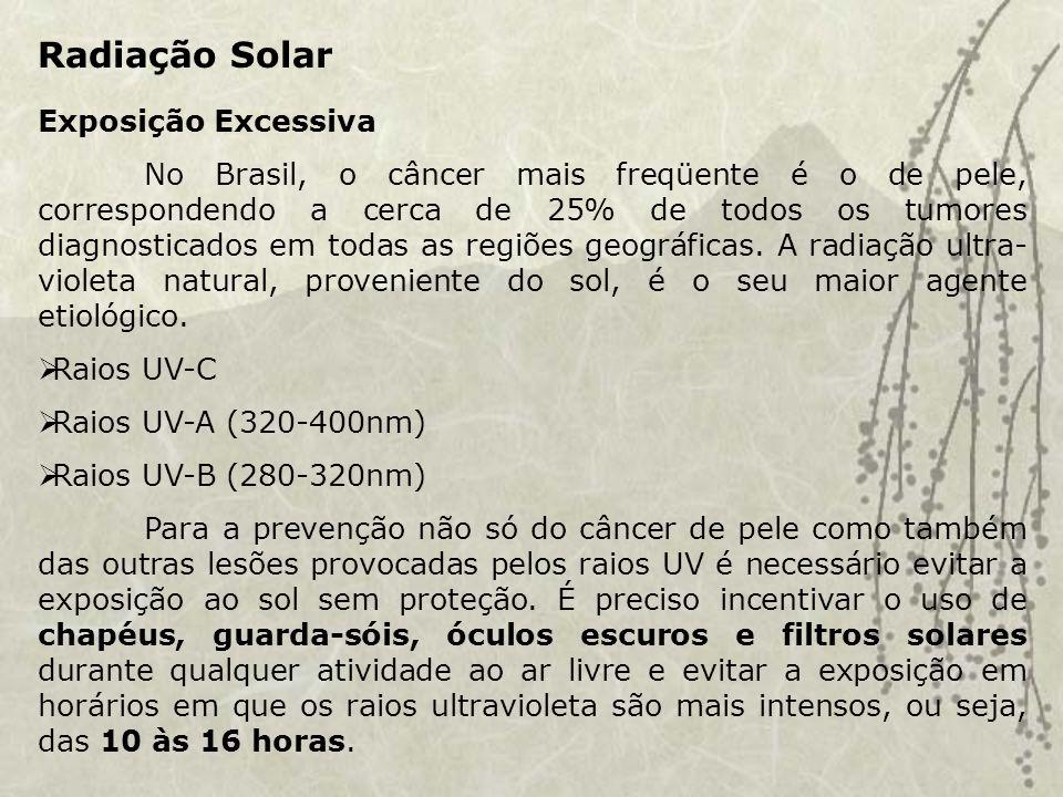 Radiação Solar Exposição Excessiva No Brasil, o câncer mais freqüente é o de pele, correspondendo a cerca de 25% de todos os tumores diagnosticados em todas as regiões geográficas.