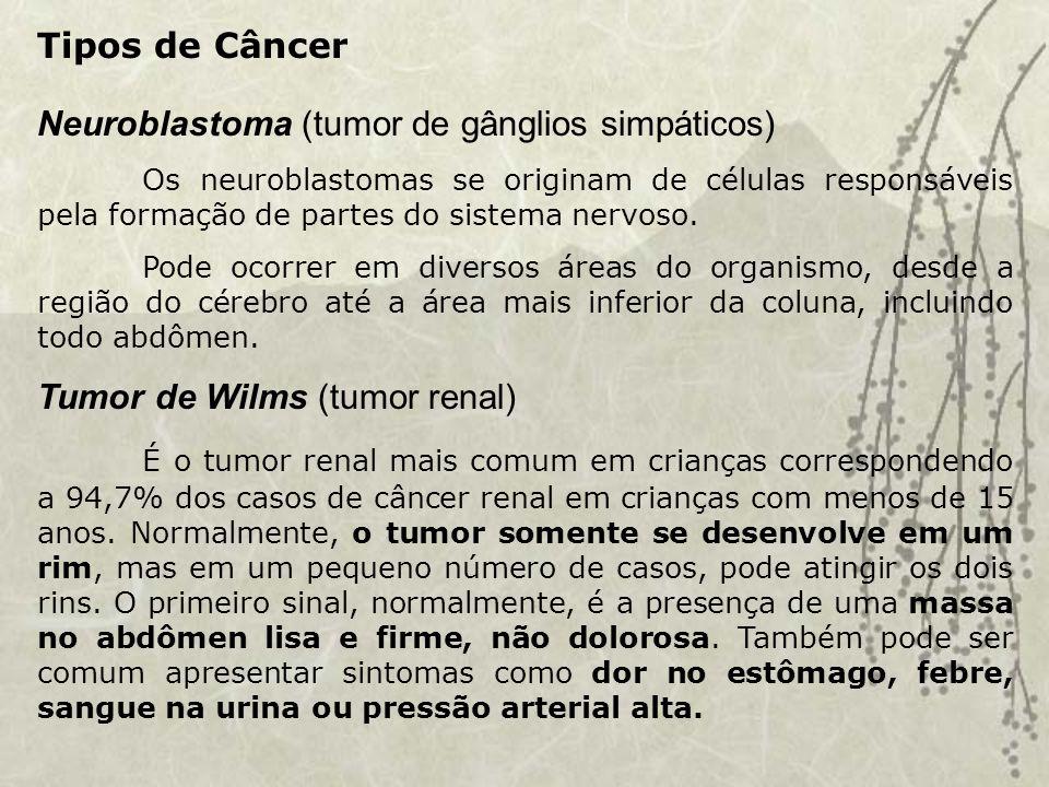 Neuroblastoma (tumor de gânglios simpáticos) Os neuroblastomas se originam de células responsáveis pela formação de partes do sistema nervoso.
