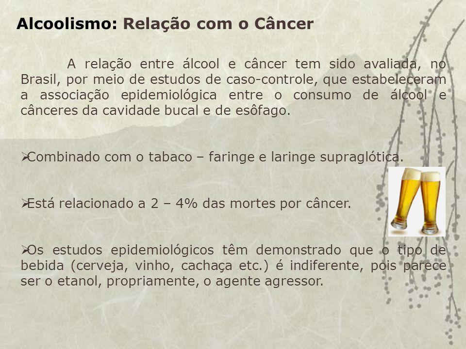 Alcoolismo: Relação com o Câncer A relação entre álcool e câncer tem sido avaliada, no Brasil, por meio de estudos de caso-controle, que estabeleceram a associação epidemiológica entre o consumo de álcool e cânceres da cavidade bucal e de esôfago.