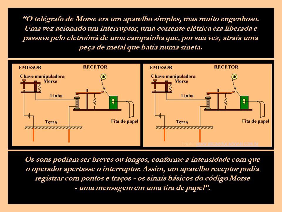 O primeiro telégrafo realmente eficaz, na transmissão de mensagens a grandes distâncias, foi construído por Samuel Morse em 1832.