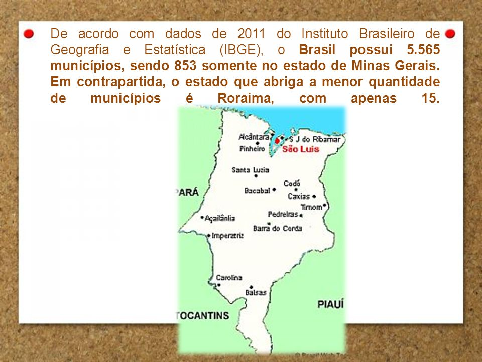 De acordo com dados de 2011 do Instituto Brasileiro de Geografia e Estatística (IBGE), o Brasil possui 5.565 municípios, sendo 853 somente no estado d