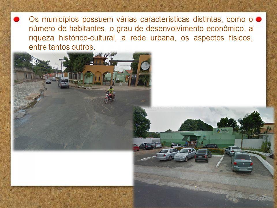 Os municípios possuem várias características distintas, como o número de habitantes, o grau de desenvolvimento econômico, a riqueza histórico-cultural
