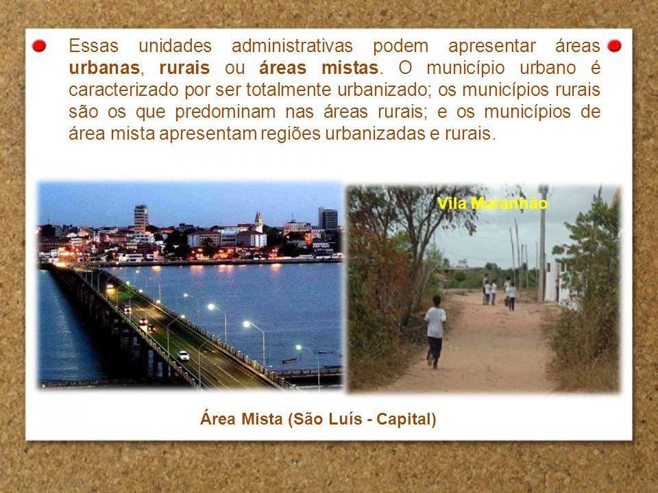 Essas unidades administrativas podem apresentar áreas urbanas, rurais ou áreas mistas. O município urbano é caracterizado por ser totalmente urbanizad