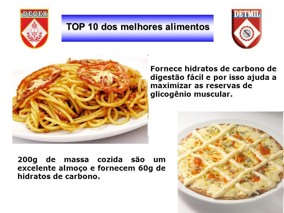 TOP 10 dos melhores alimentos 200g de massa cozida são um excelente almoço e fornecem 60g de hidratos de carbono.