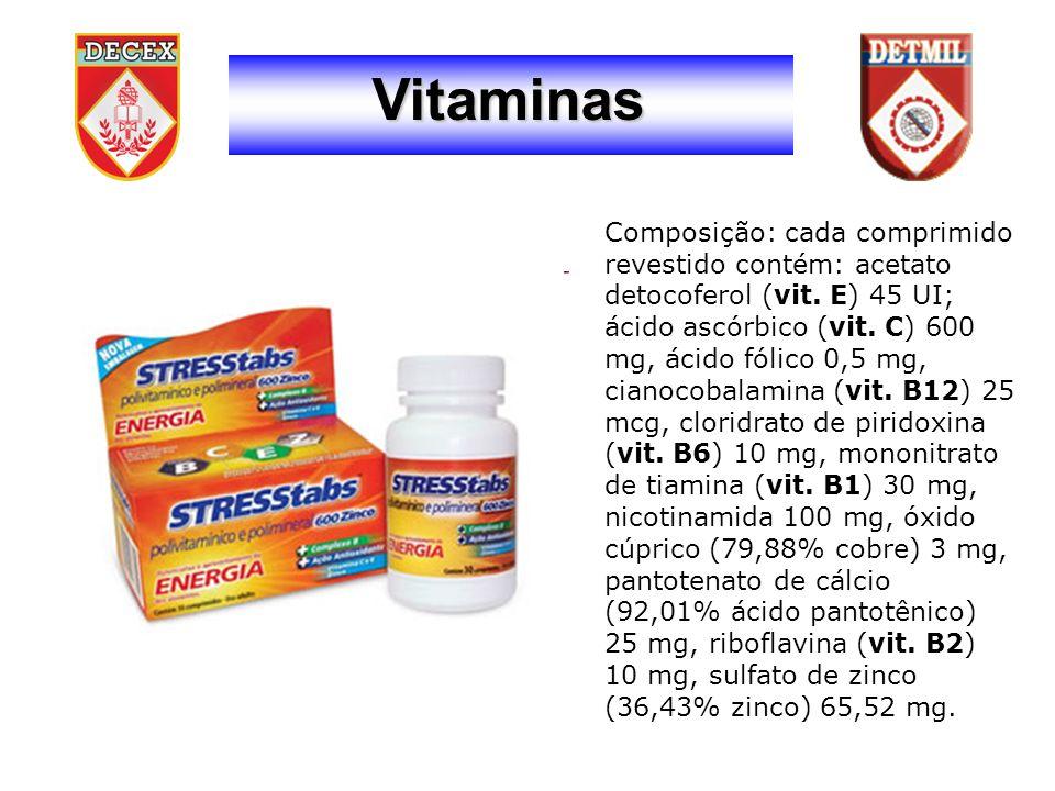 Vitaminas Composição: cada comprimido revestido contém: acetato detocoferol (vit.