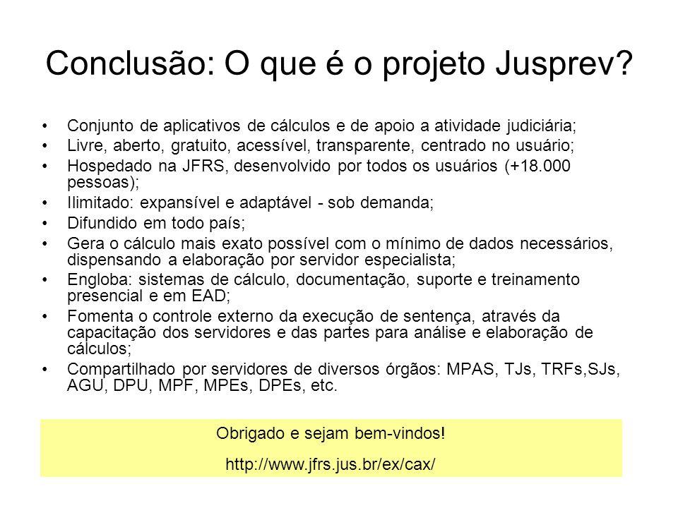Conclusão: O que é o projeto Jusprev? Conjunto de aplicativos de cálculos e de apoio a atividade judiciária; Livre, aberto, gratuito, acessível, trans