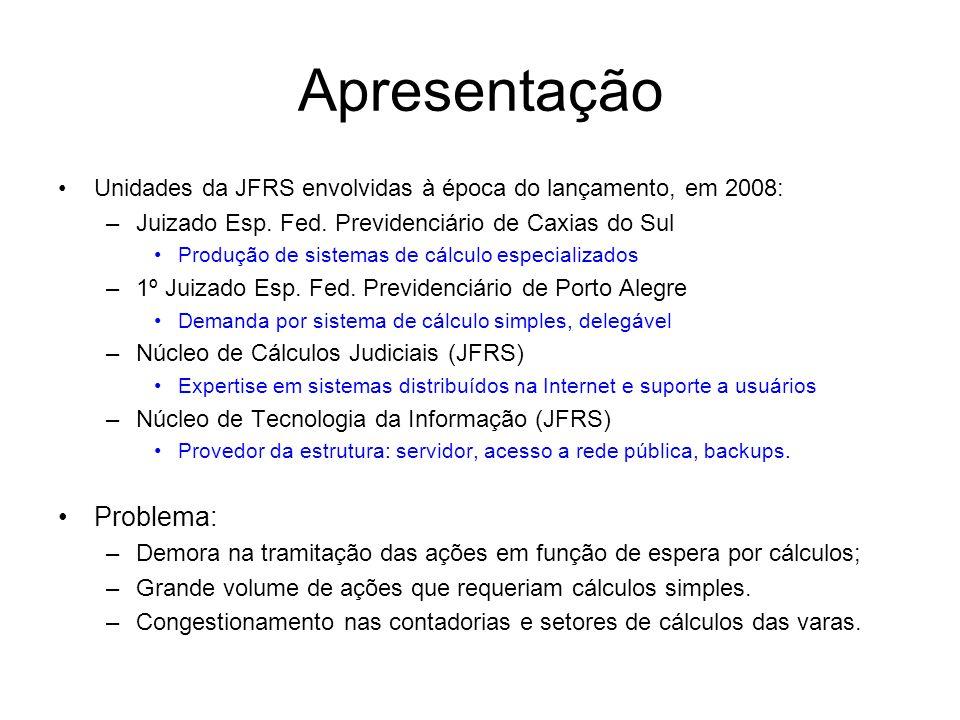 Apresentação Unidades da JFRS envolvidas à época do lançamento, em 2008: –Juizado Esp. Fed. Previdenciário de Caxias do Sul Produção de sistemas de cá