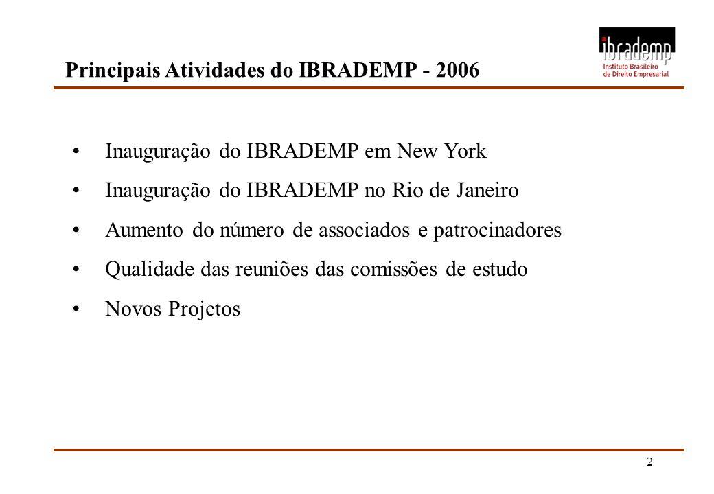 2 Principais Atividades do IBRADEMP - 2006 Inauguração do IBRADEMP em New York Inauguração do IBRADEMP no Rio de Janeiro Aumento do número de associad