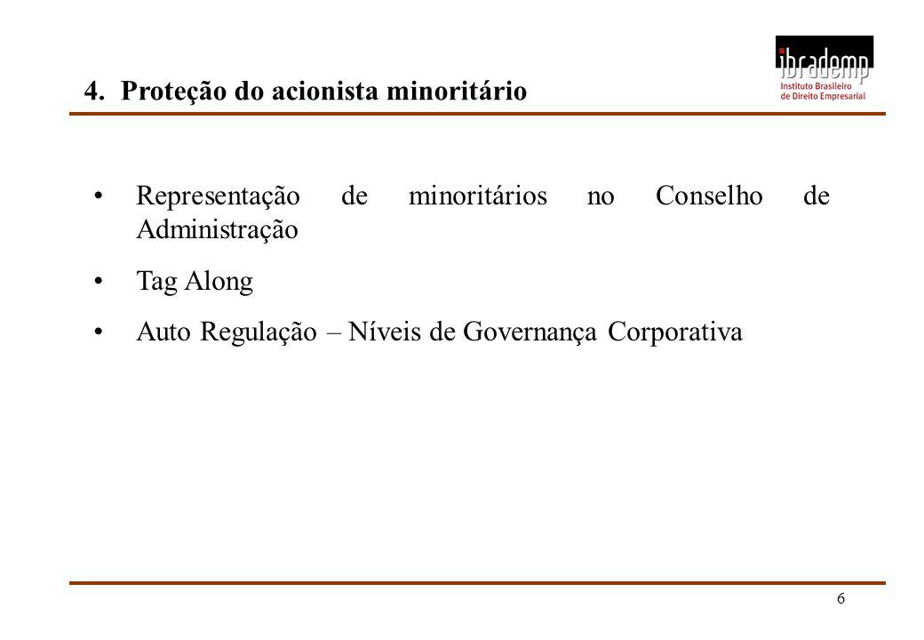6 4.Proteção do acionista minoritário Representação de minoritários no Conselho de Administração Tag Along Auto Regulação – Níveis de Governança Corpo