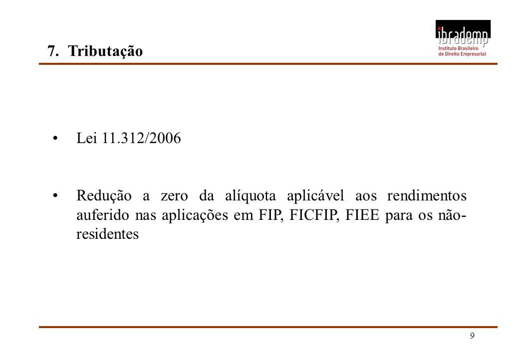 9 7.Tributação Lei 11.312/2006 Redução a zero da alíquota aplicável aos rendimentos auferido nas aplicações em FIP, FICFIP, FIEE para os não- resident