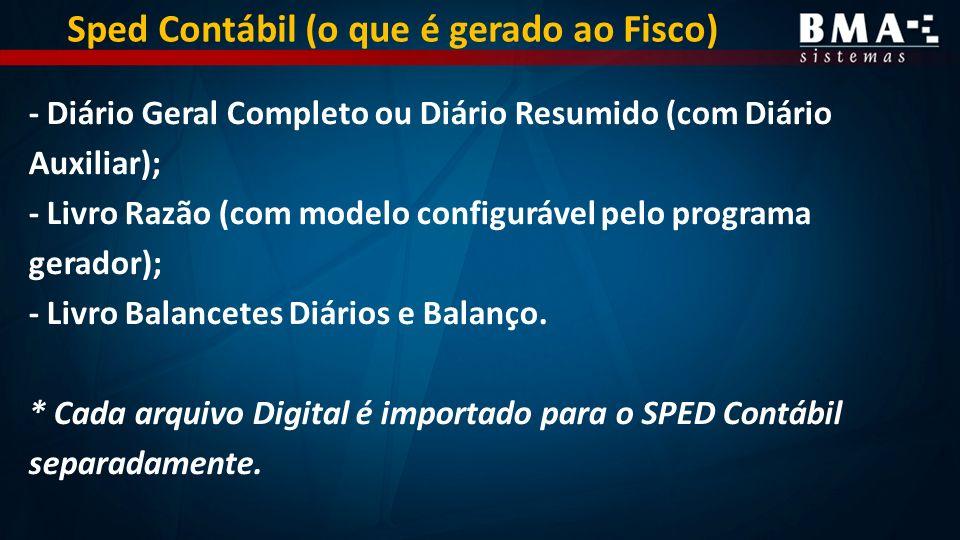 - Diário Geral Completo ou Diário Resumido (com Diário Auxiliar); - Livro Razão (com modelo configurável pelo programa gerador); - Livro Balancetes Diários e Balanço.