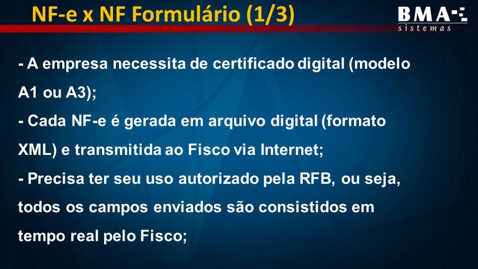 NF-e x NF Formulário (1/3) - A empresa necessita de certificado digital (modelo A1 ou A3); - Cada NF-e é gerada em arquivo digital (formato XML) e transmitida ao Fisco via Internet; - Precisa ter seu uso autorizado pela RFB, ou seja, todos os campos enviados são consistidos em tempo real pelo Fisco;