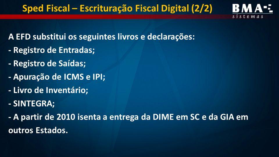 A EFD substitui os seguintes livros e declarações: - Registro de Entradas; - Registro de Saídas; - Apuração de ICMS e IPI; - Livro de Inventário; - SINTEGRA; - A partir de 2010 isenta a entrega da DIME em SC e da GIA em outros Estados.