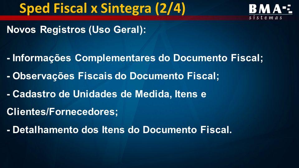 Sped Fiscal x Sintegra (2/4) Novos Registros (Uso Geral): - Informações Complementares do Documento Fiscal; - Observações Fiscais do Documento Fiscal; - Cadastro de Unidades de Medida, Itens e Clientes/Fornecedores; - Detalhamento dos Itens do Documento Fiscal.