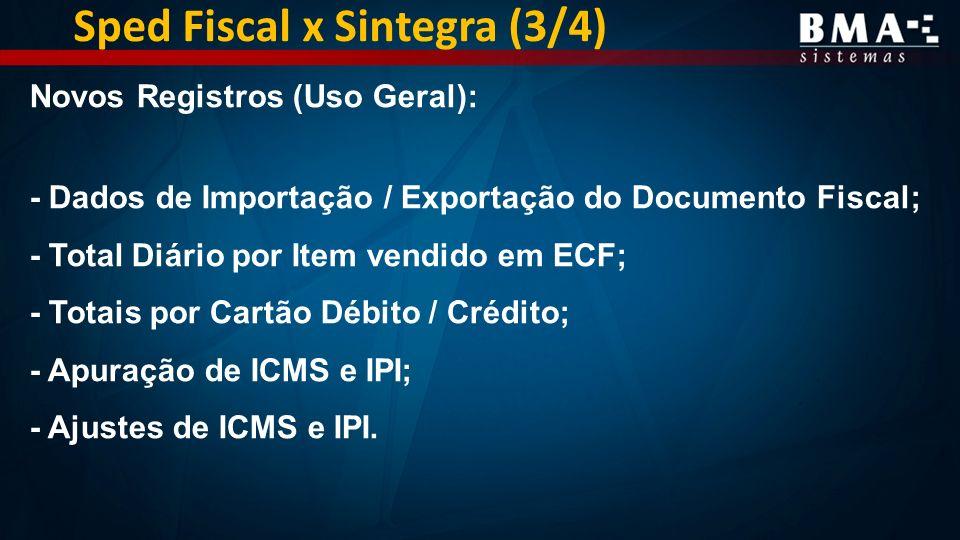Sped Fiscal x Sintegra (3/4) Novos Registros (Uso Geral): - Dados de Importação / Exportação do Documento Fiscal; - Total Diário por Item vendido em ECF; - Totais por Cartão Débito / Crédito; - Apuração de ICMS e IPI; - Ajustes de ICMS e IPI.