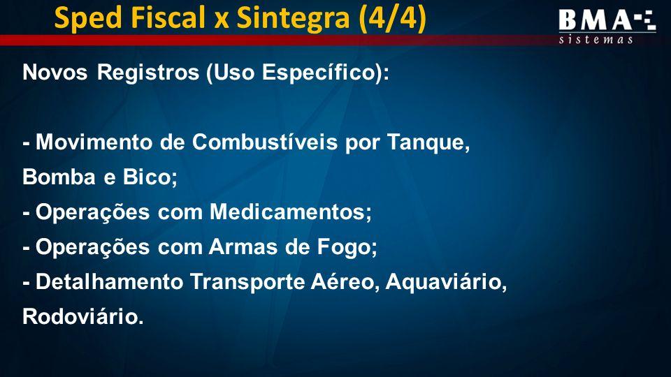 Sped Fiscal x Sintegra (4/4) Novos Registros (Uso Específico): - Movimento de Combustíveis por Tanque, Bomba e Bico; - Operações com Medicamentos; - Operações com Armas de Fogo; - Detalhamento Transporte Aéreo, Aquaviário, Rodoviário.