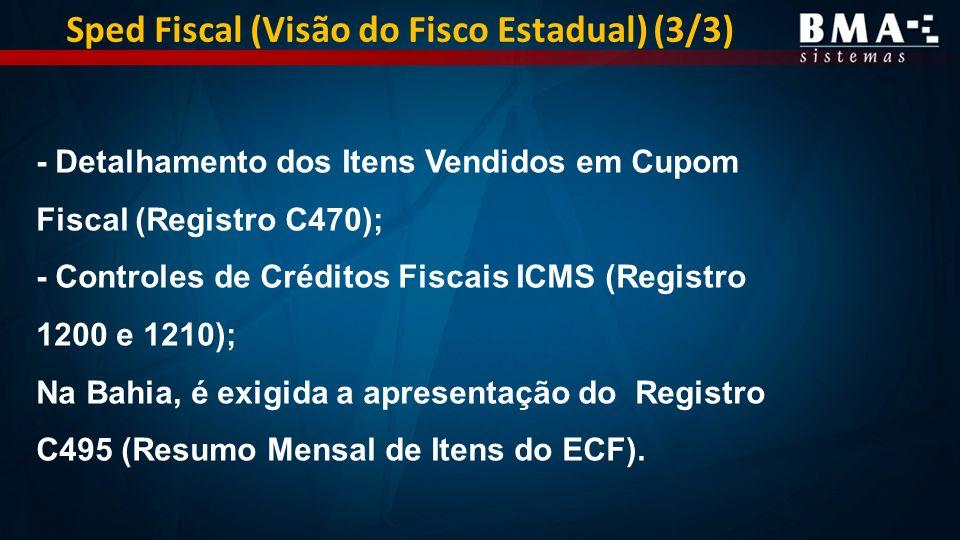 - Detalhamento dos Itens Vendidos em Cupom Fiscal (Registro C470); - Controles de Créditos Fiscais ICMS (Registro 1200 e 1210); Na Bahia, é exigida a apresentação do Registro C495 (Resumo Mensal de Itens do ECF).
