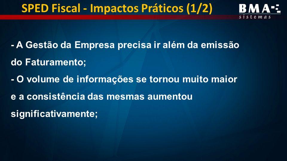 SPED Fiscal - Impactos Práticos (1/2) - A Gestão da Empresa precisa ir além da emissão do Faturamento; - O volume de informações se tornou muito maior e a consistência das mesmas aumentou significativamente;