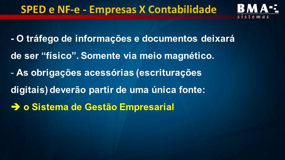 SPED e NF-e - Empresas X Contabilidade - O tráfego de informações e documentos deixará de ser físico.