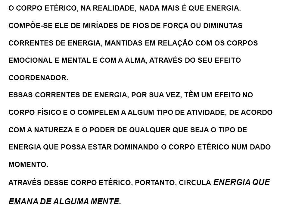 O CORPO ETÉRICO, NA REALIDADE, NADA MAIS É QUE ENERGIA. COMPÕE-SE ELE DE MIRÍADES DE FIOS DE FORÇA OU DIMINUTAS CORRENTES DE ENERGIA, MANTIDAS EM RELA