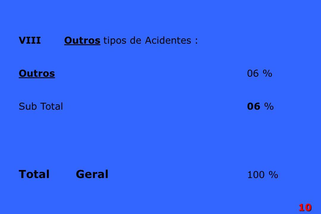 10 VIII Outros tipos de Acidentes : Outros06 % Sub Total06 % TotalGeral 100 %