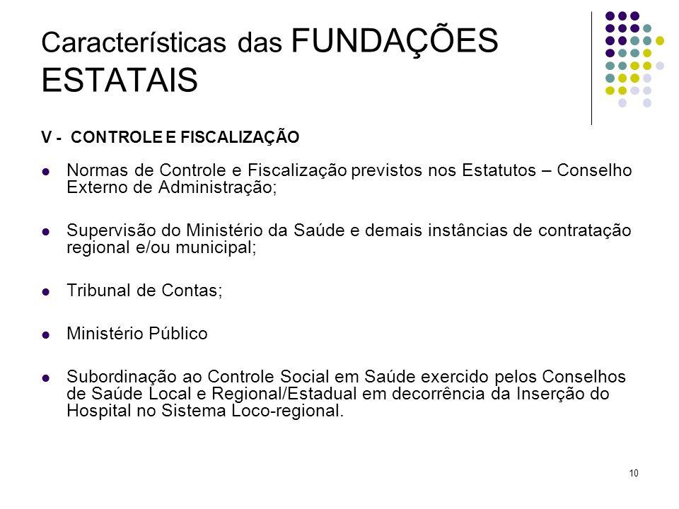 10 Características das FUNDAÇÕES ESTATAIS V - CONTROLE E FISCALIZAÇÃO Normas de Controle e Fiscalização previstos nos Estatutos – Conselho Externo de