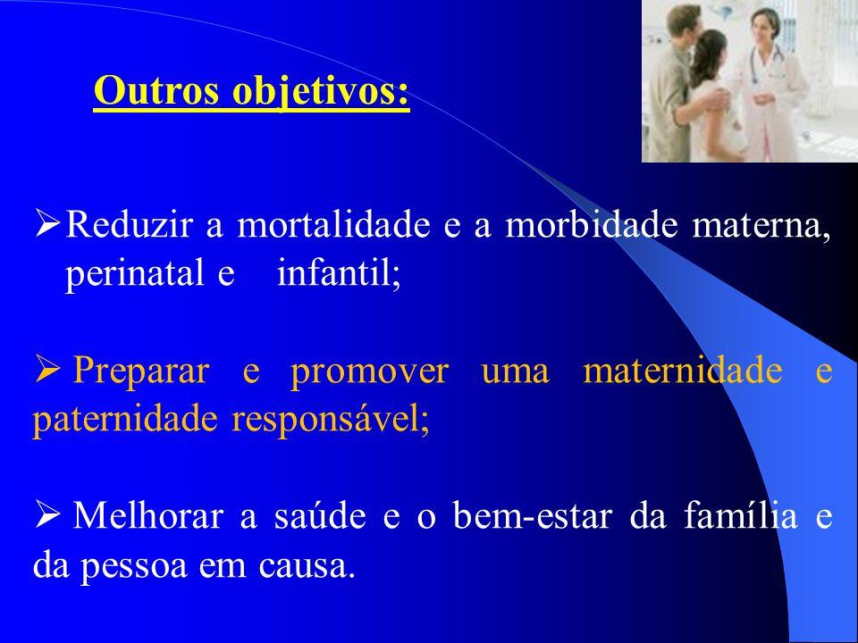 Reduzir a mortalidade e a morbidade materna, perinatal e infantil; Preparar e promover uma maternidade e paternidade responsável; Melhorar a saúde e o
