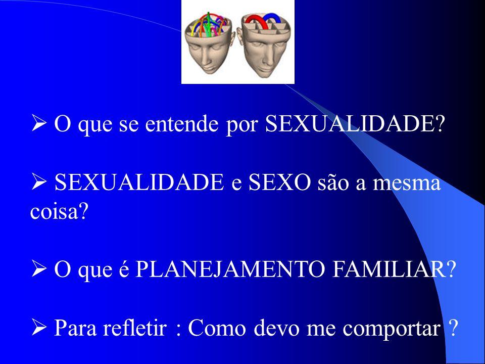 O que se entende por SEXUALIDADE? SEXUALIDADE e SEXO são a mesma coisa? O que é PLANEJAMENTO FAMILIAR? Para refletir : Como devo me comportar ?