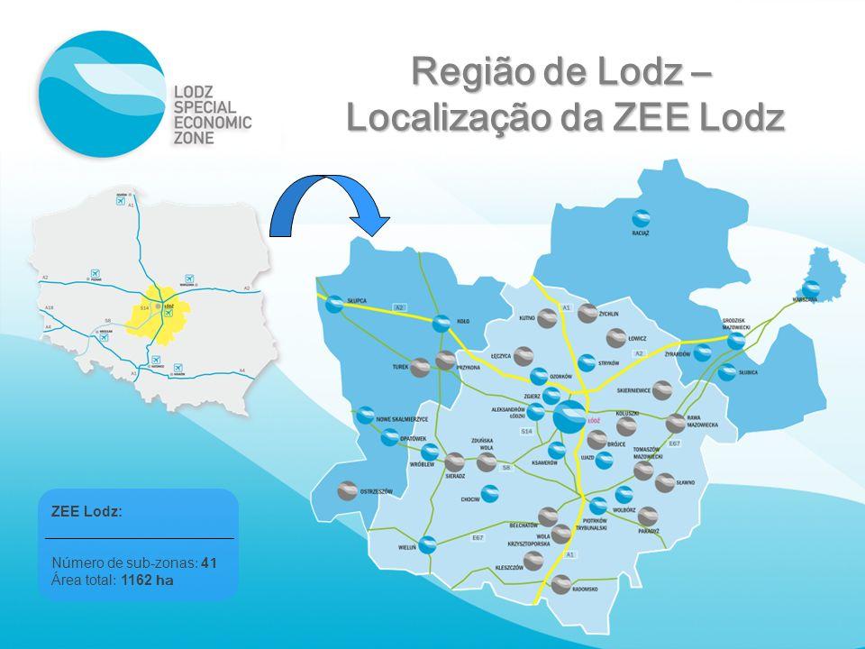 Região de Lodz – Localização da ZEE Lodz ZEE Lodz: Número de sub-zonas : 4 1 Área total : 1162 ha