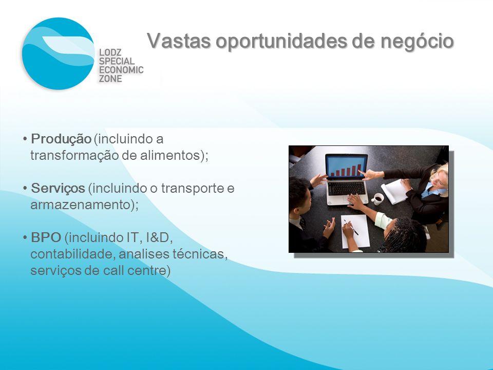 Produção (incluindo a transformação de alimentos); Serviços (incluindo o transporte e armazenamento); BPO (incluindo IT, I&D, contabilidade, analises