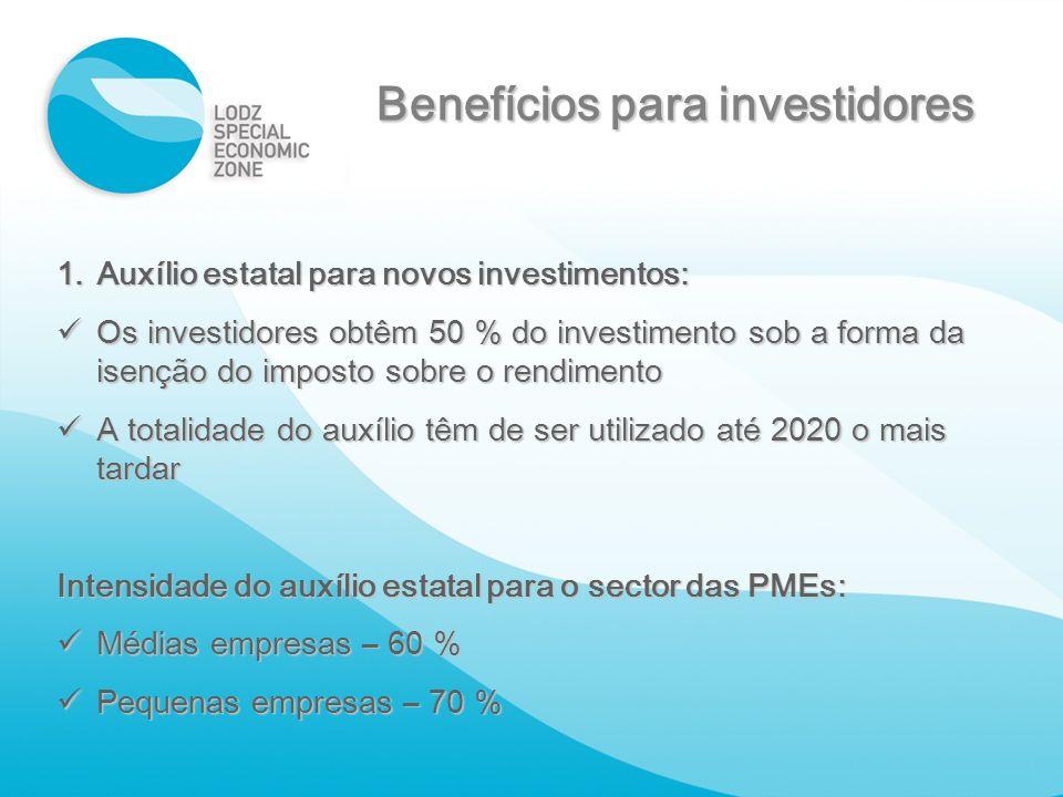 Benefícios para investidores 1.Auxílio estatal para novos investimentos: Os investidores obtêm 50 % do investimento sob a forma da isenção do imposto