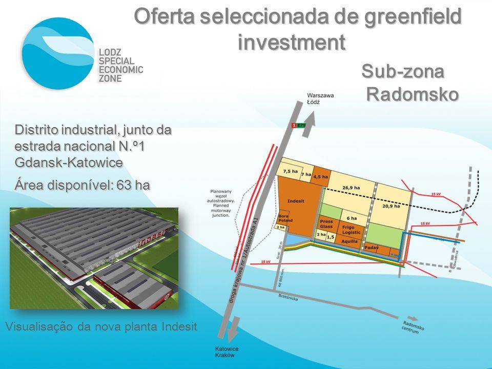 Distrito industrial, junto da estrada nacional N.º1 Gdansk-Katowice Área disponível: 63 ha Visualisação da nova planta Indesit Sub-zona Radomsko Ofert
