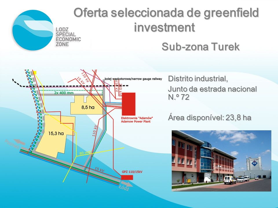 Sub-zona Turek Distrito industrial, Junto da estrada nacional N.º 72 Área disponível: 2 3,8 ha Oferta seleccionada de greenfield Oferta seleccionada d