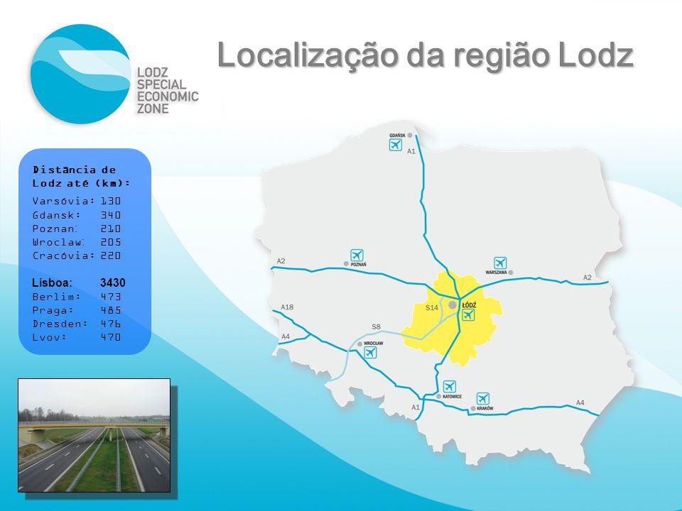 Distância de Lodz até (km): Varsóvia:130 Gdansk:340 Poznan:210 Wroclaw:205 Cracóvia:220 Lisboa:3430 Berlim:473 Praga:485 Dresden:476 Lvov:470 Localiza