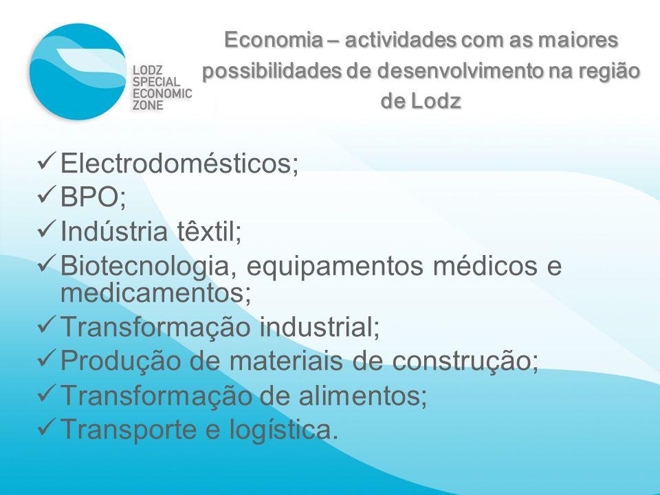 Economia – actividades com as maiores possibilidades de desenvolvimento na região de Lodz Electrodomésticos ; BPO ; Indústria têxtil ; Biotecnologia,