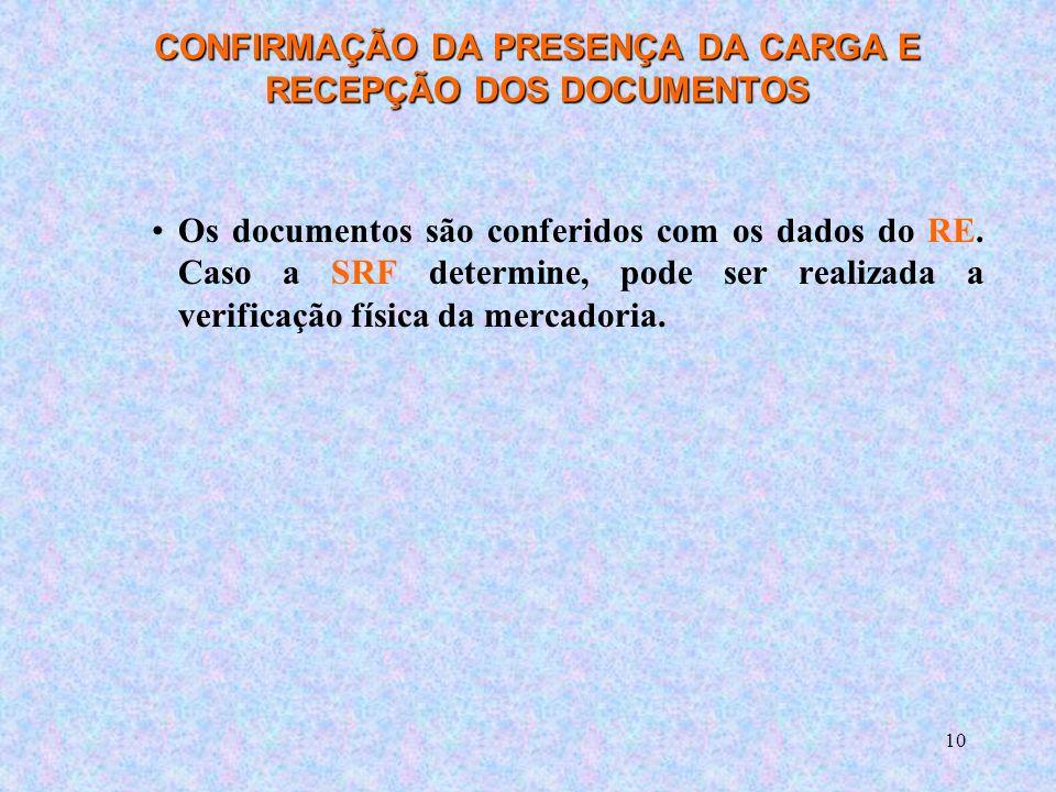 10 CONFIRMAÇÃO DA PRESENÇA DA CARGA E RECEPÇÃO DOS DOCUMENTOS Os documentos são conferidos com os dados do RE.