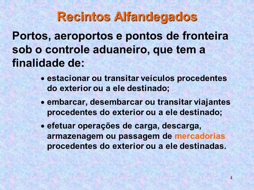 5 LOCAL para REALIZAÇÃO do DESPACHO As mercadorias até que sejam liberadas pela Alfândega, devem necessariamente ficar depositadas em recintos alfandegados situados: Na zona primária: localizadas nos aeroportos e portos em Instalações Portuárias Alfandegadas; Na zona secundária: correspondem às EADI (Estações Aduaneiras Interiores); REDEX - Recintos Especiais para Despacho Aduaneiro de Exportação.
