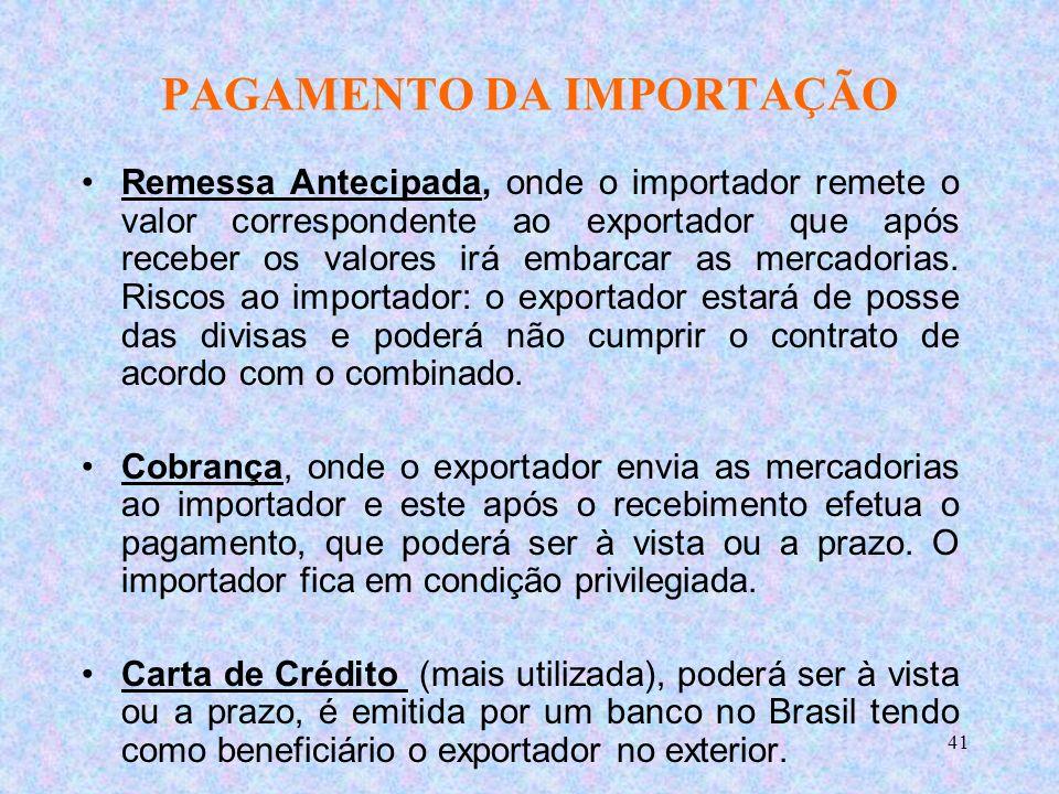 41 PAGAMENTO DA IMPORTAÇÃO Remessa Antecipada, onde o importador remete o valor correspondente ao exportador que após receber os valores irá embarcar as mercadorias.