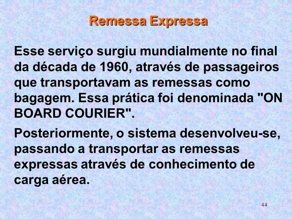 44 Remessa Expressa Esse serviço surgiu mundialmente no final da década de 1960, através de passageiros que transportavam as remessas como bagagem.