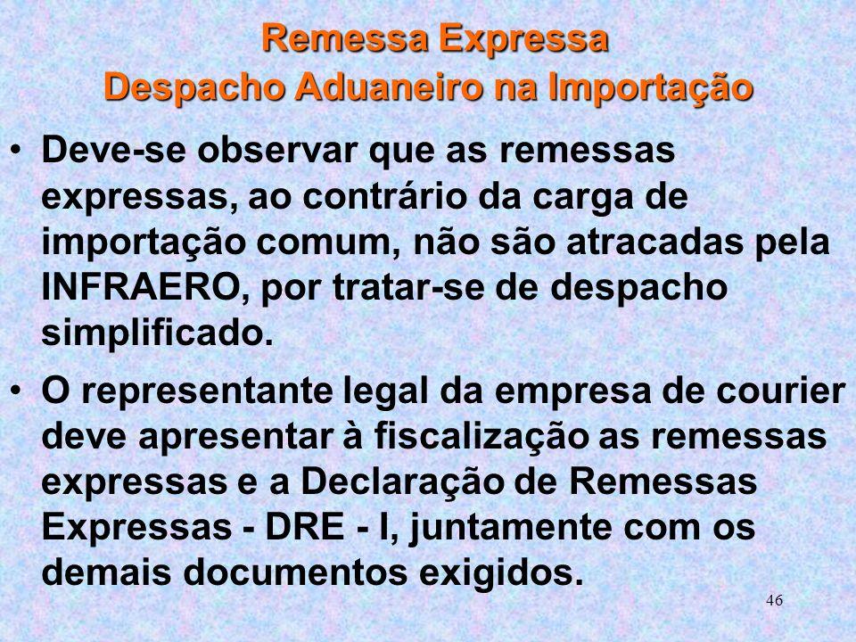 46 Remessa Expressa Despacho Aduaneiro na Importação Deve-se observar que as remessas expressas, ao contrário da carga de importação comum, não são atracadas pela INFRAERO, por tratar-se de despacho simplificado.