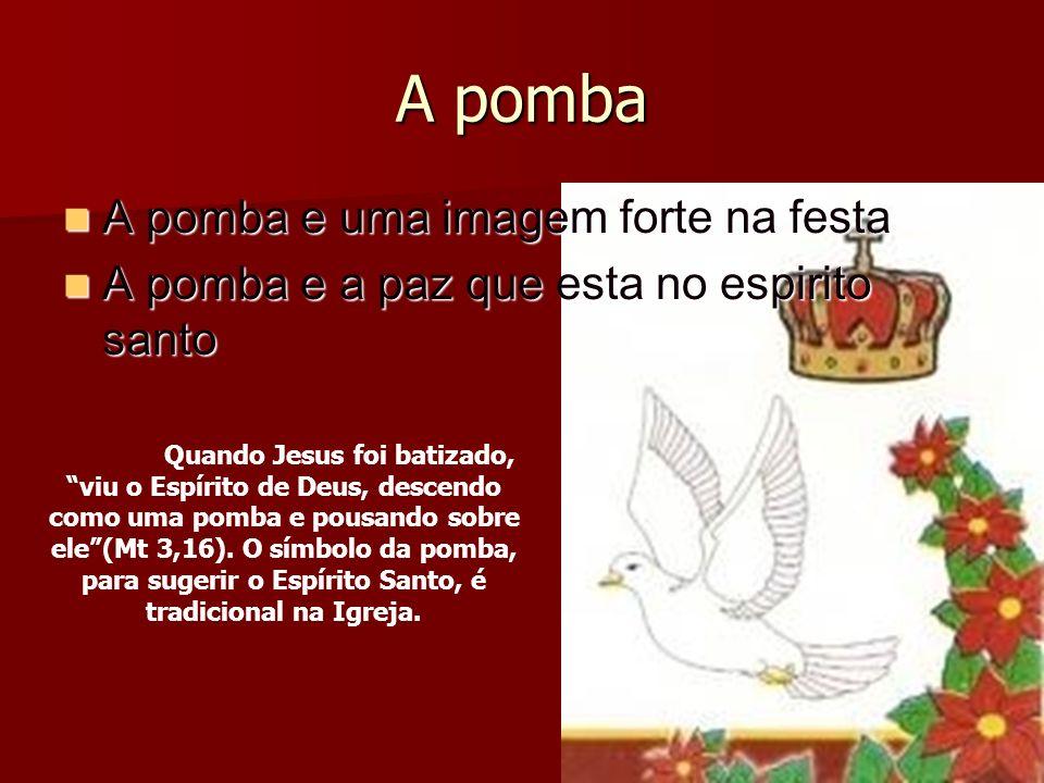 A pomba A pomba e uma imagem forte na festa A pomba e uma imagem forte na festa A pomba e a paz que esta no espirito santo A pomba e a paz que esta no