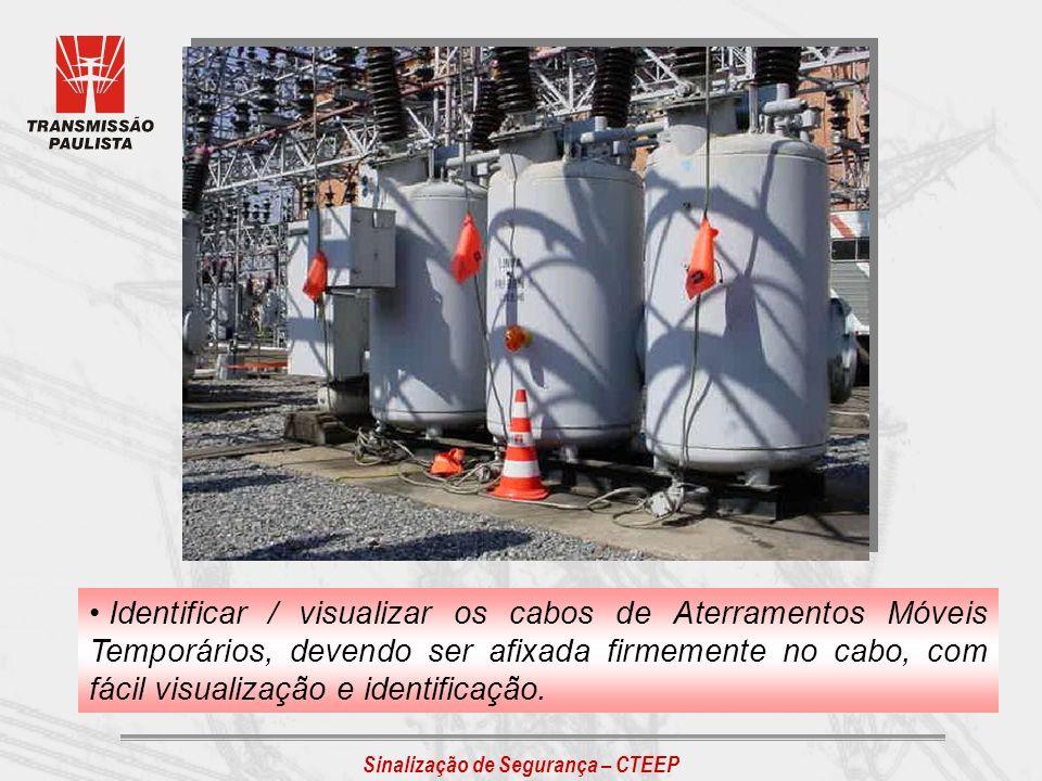 Sinalização de Segurança – CTEEP Identificar / visualizar os cabos de Aterramentos Móveis Temporários, devendo ser afixada firmemente no cabo, com fác