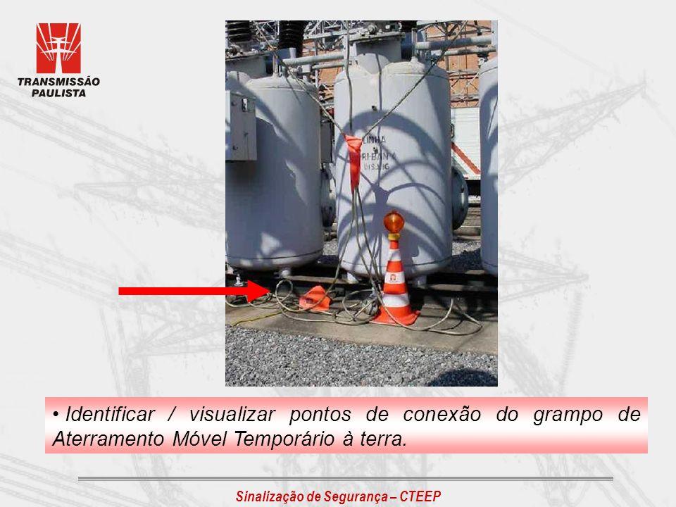 Sinalização de Segurança – CTEEP Identificar / visualizar pontos de conexão do grampo de Aterramento Móvel Temporário à terra.