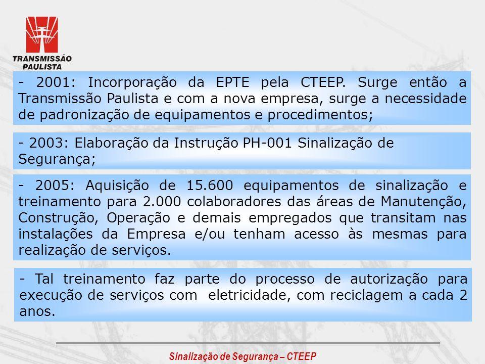 Sinalização de Segurança – CTEEP - 2003: Elaboração da Instrução PH-001 Sinalização de Segurança; - 2001: Incorporação da EPTE pela CTEEP. Surge então