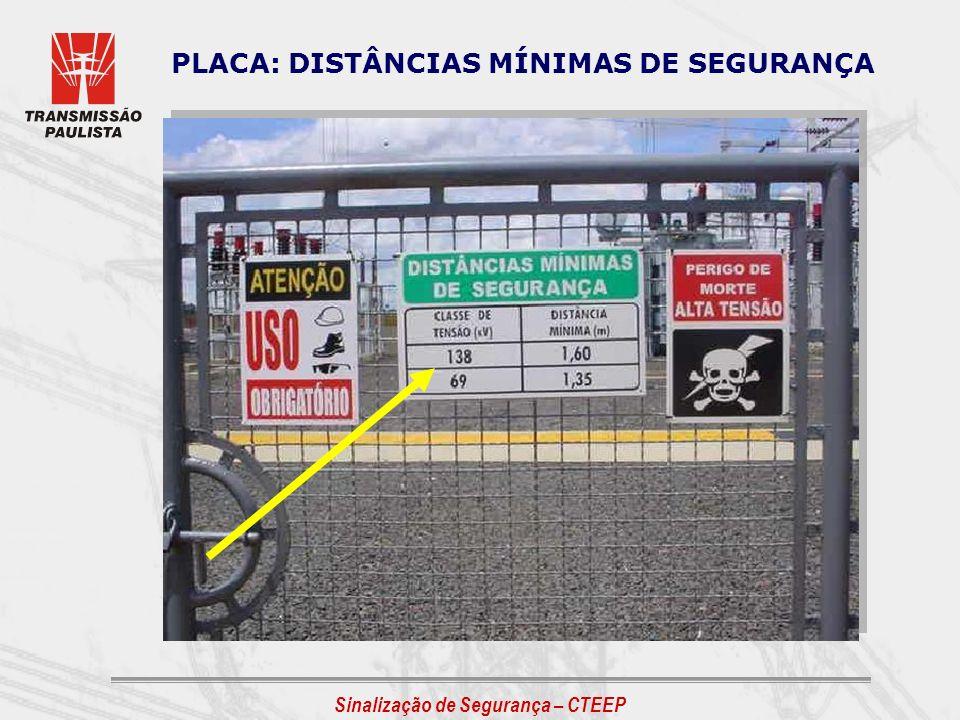 Sinalização de Segurança – CTEEP PLACA: DISTÂNCIAS MÍNIMAS DE SEGURANÇA