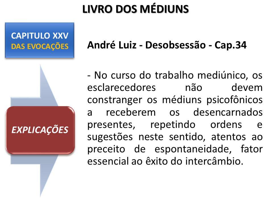 André Luiz - Desobsessão - Cap.34 - No curso do trabalho mediúnico, os esclarecedores não devem constranger os médiuns psicofônicos a receberem os des
