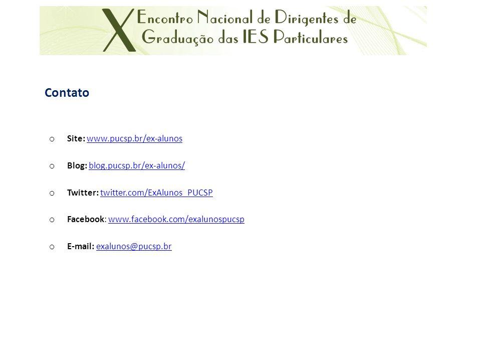 Contato o Site: www.pucsp.br/ex-alunoswww.pucsp.br/ex-alunos o Blog: blog.pucsp.br/ex-alunos/blog.pucsp.br/ex-alunos/ o Twitter: twitter.com/ExAlunos_PUCSPtwitter.com/ExAlunos_PUCSP o Facebook: www.facebook.com/exalunospucspwww.facebook.com/exalunospucsp o E-mail: exalunos@pucsp.brexalunos@pucsp.br