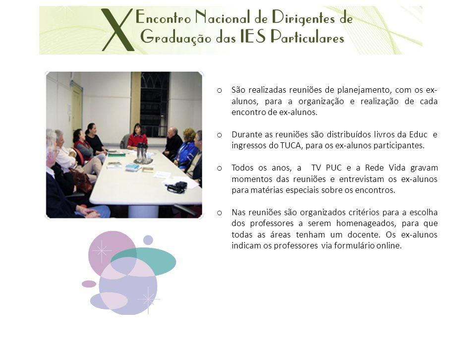 o São realizadas reuniões de planejamento, com os ex- alunos, para a organização e realização de cada encontro de ex-alunos.