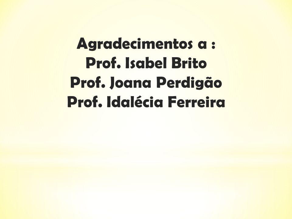 Agradecimentos a : Prof. Isabel Brito Prof. Joana Perdigão Prof. Idalécia Ferreira