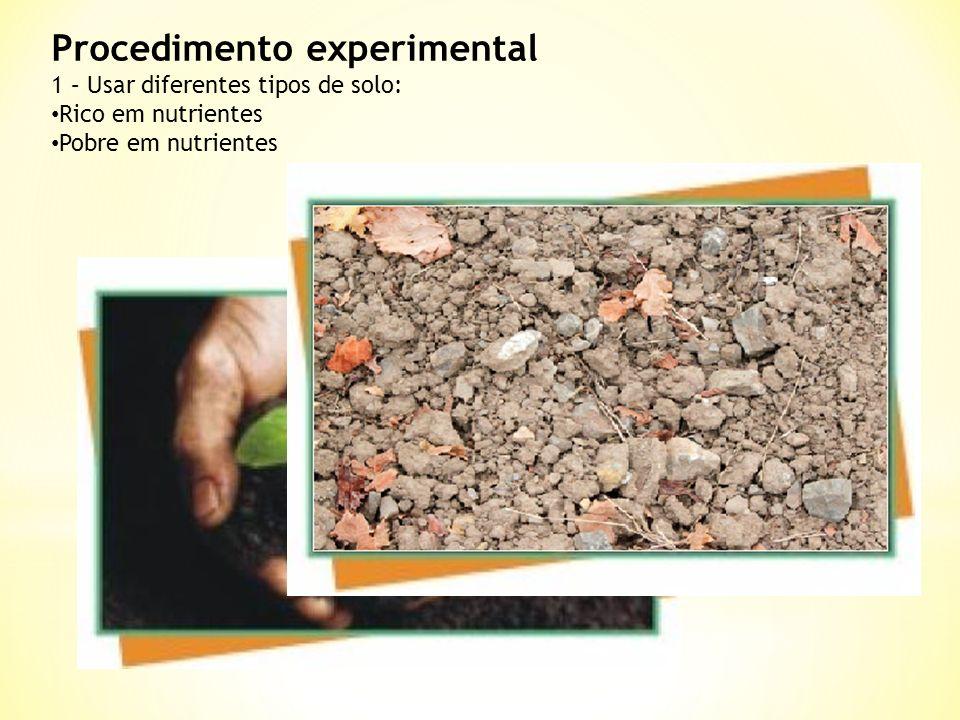 Procedimento experimental 1 – Usar diferentes tipos de solo: Rico em nutrientes Pobre em nutrientes